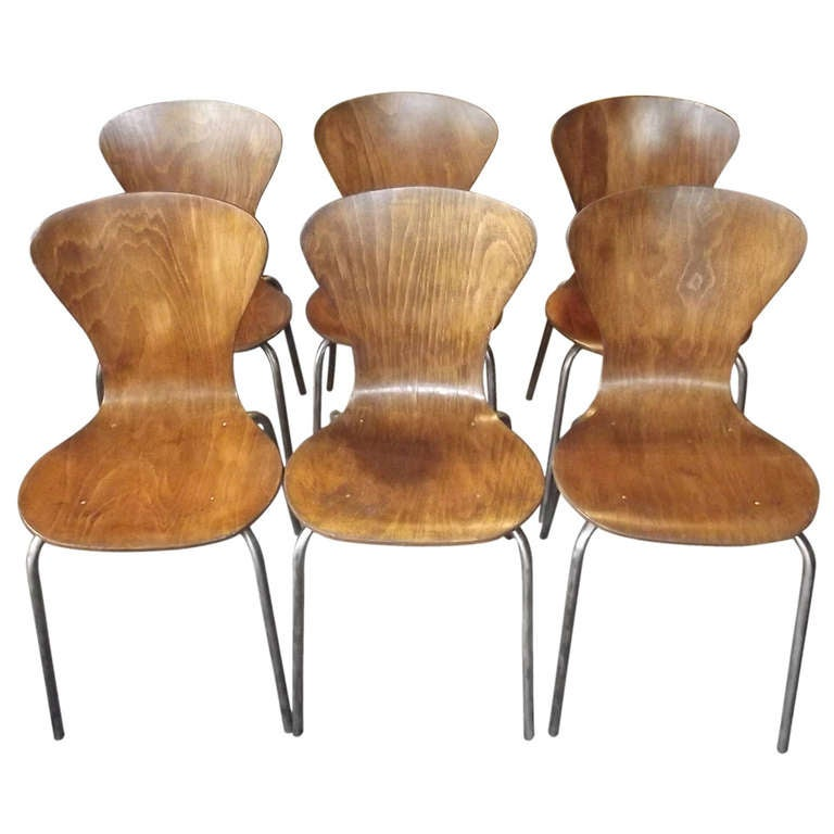 Set Of Steam Bent Plywood Chairs At 1stdibs