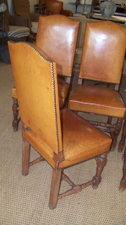 Set Of Six Louis XIII Style Dining Chairs In Leather