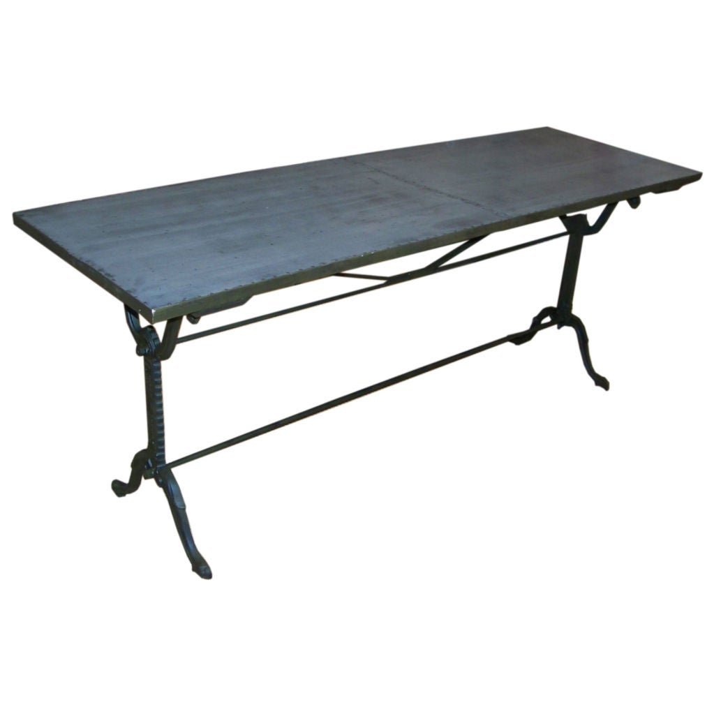 Cast iron bistro table w zinc top at 1stdibs for Cast iron dining table
