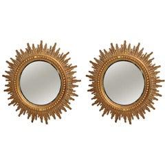 1970-1980 Pair Sunburst Mirrors Diameter 86 cm