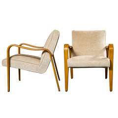 Pair of Mid-Century Wood Armchairs by Thonet