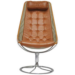 Leather Swivel Chair by Bruno Mathsson