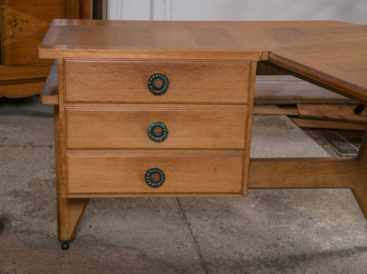 Mid-20th Century Guillerme et Chambron Desk and Chair For Sale