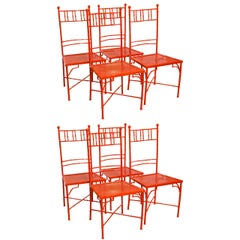 Set of Eight Faux Bamboo Metal Garden Chairs