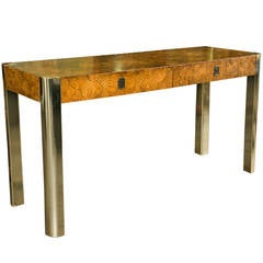 Milo Baughman for Century Burled Wood Console Table