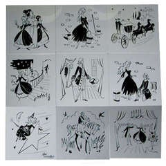 French Etched Glass Cinderella Panels