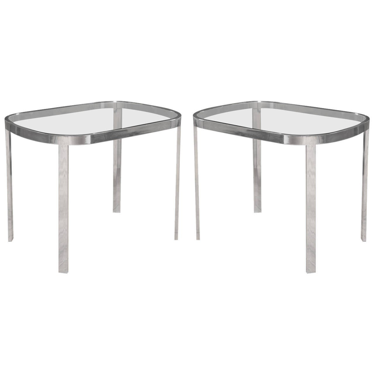 Directional Chrome Side Tables