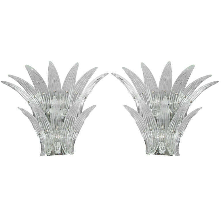 Pair of Barovier Murano Venetian Glass Sconces For Sale