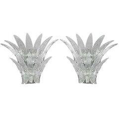 Pair of Barovier Murano Venetian Glass Sconces