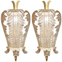 Pair of Bagues Lucite Sconces