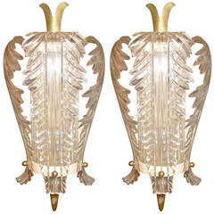 Pair of Bagues Lucite Sconces
