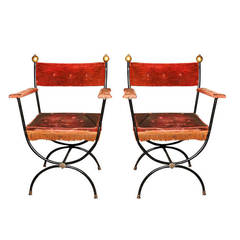 Pair French Metal Arm Chairs