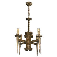 French Gilt Metal Brutalist style Chandelier