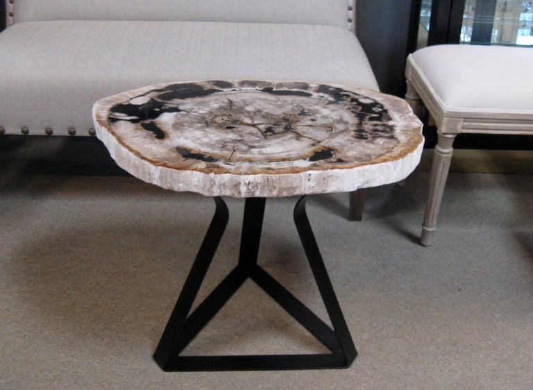 Petrified wood side end table at 1stdibs