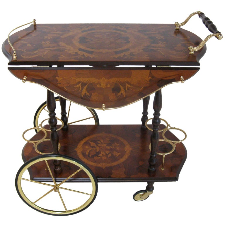 Drop Leaf Bar Cart With Marquetry Design At 1stdibs