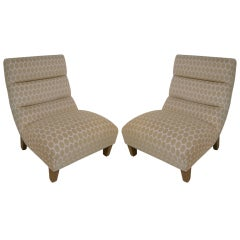 Pair of Mid Century Modern Upholstered Lounge Chairs