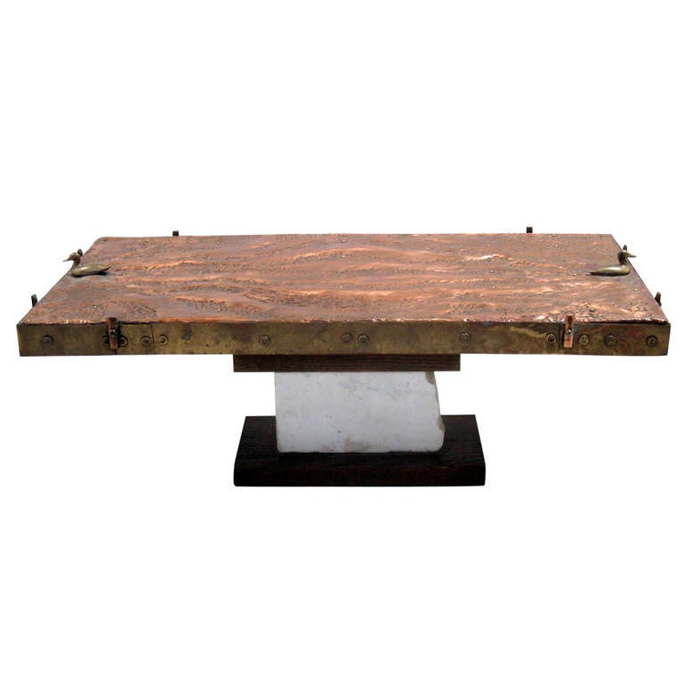Copper And Brass Coffee Table At 1stdibs