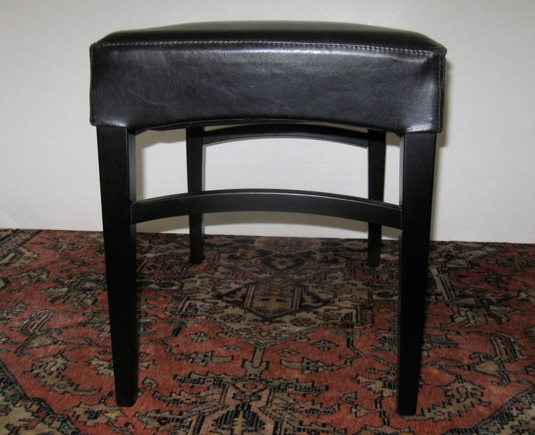 Pair of Black Leather Benches or Stools For Sale 1