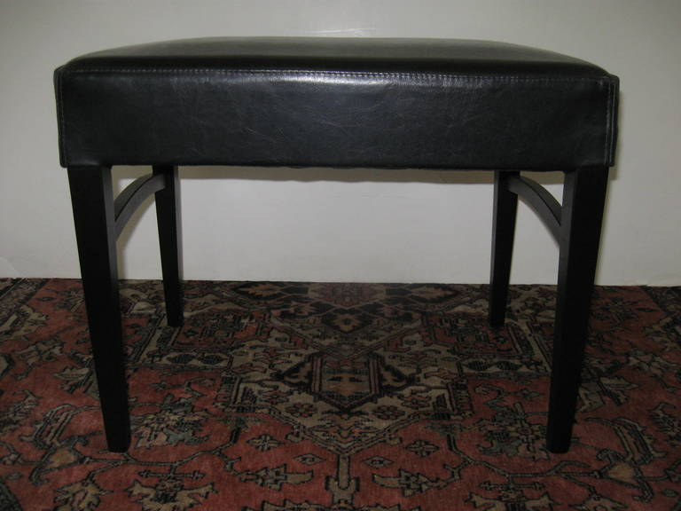 Modern Pair of Black Leather Benches or Stools For Sale