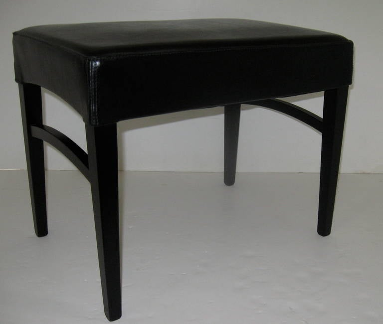 Italian Pair of Black Leather Benches or Stools For Sale