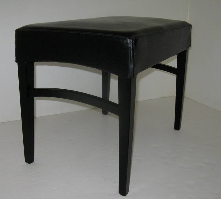 20th Century Pair of Black Leather Benches or Stools For Sale