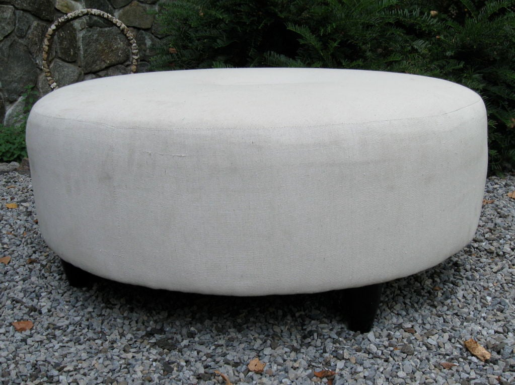 large round ottoman pouf at 1stdibs. Black Bedroom Furniture Sets. Home Design Ideas