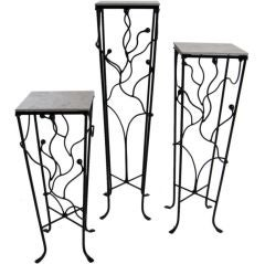 Set Of Three Wrought Iron Pedestals