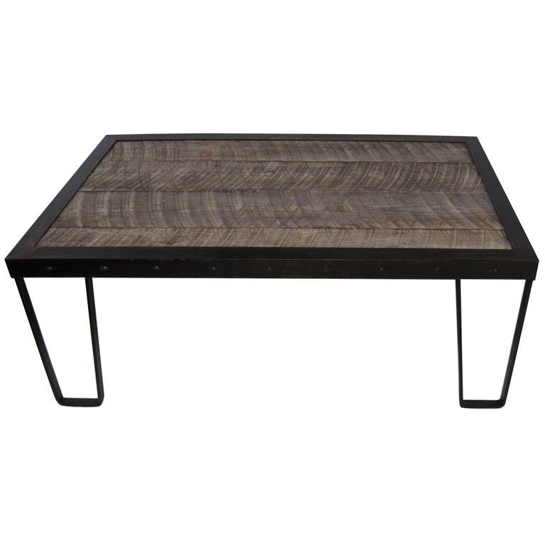Rustic wood and iron coffee table at 1stdibs Rustic iron coffee table