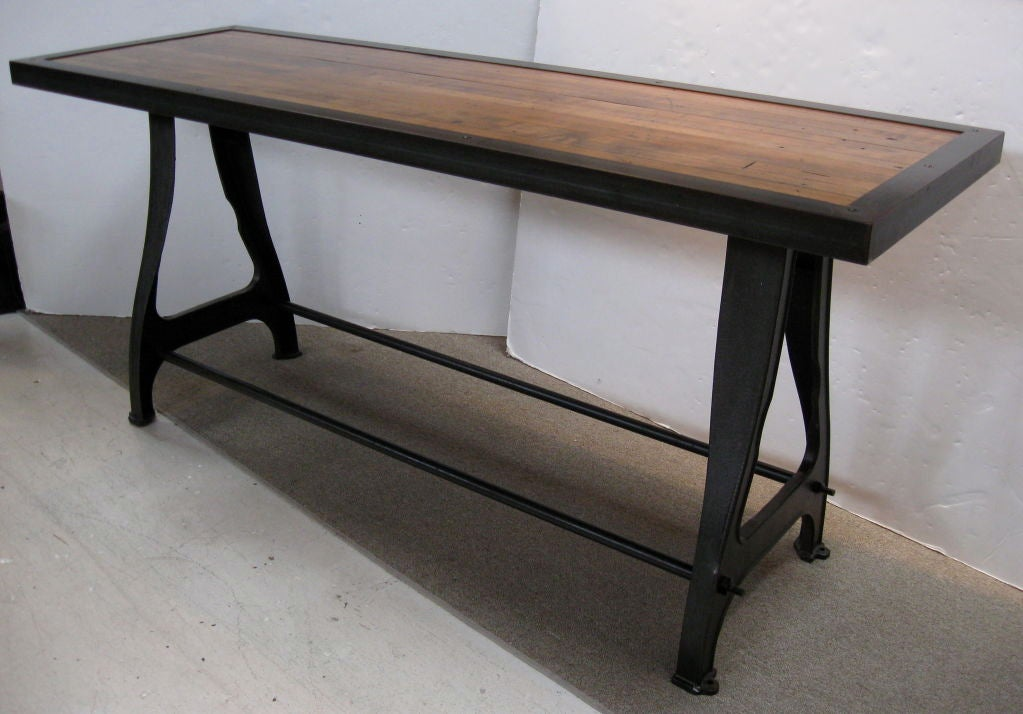 Industrial Chic Iron And Wood Console Sofa Table At