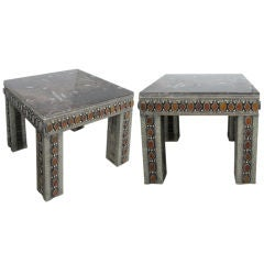 PAIR OF SILVERED METAL AND MARBLE END / SIDE TABLES