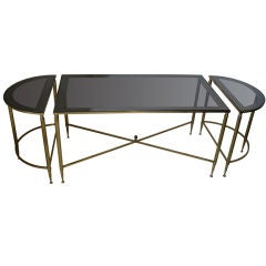BRASS AND GLASS COFFEE TABLE IN THE STYLE OF BAGUES