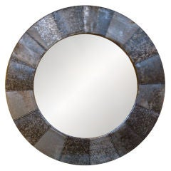 LARGE ROUND ZINC FRAMED MIRROR