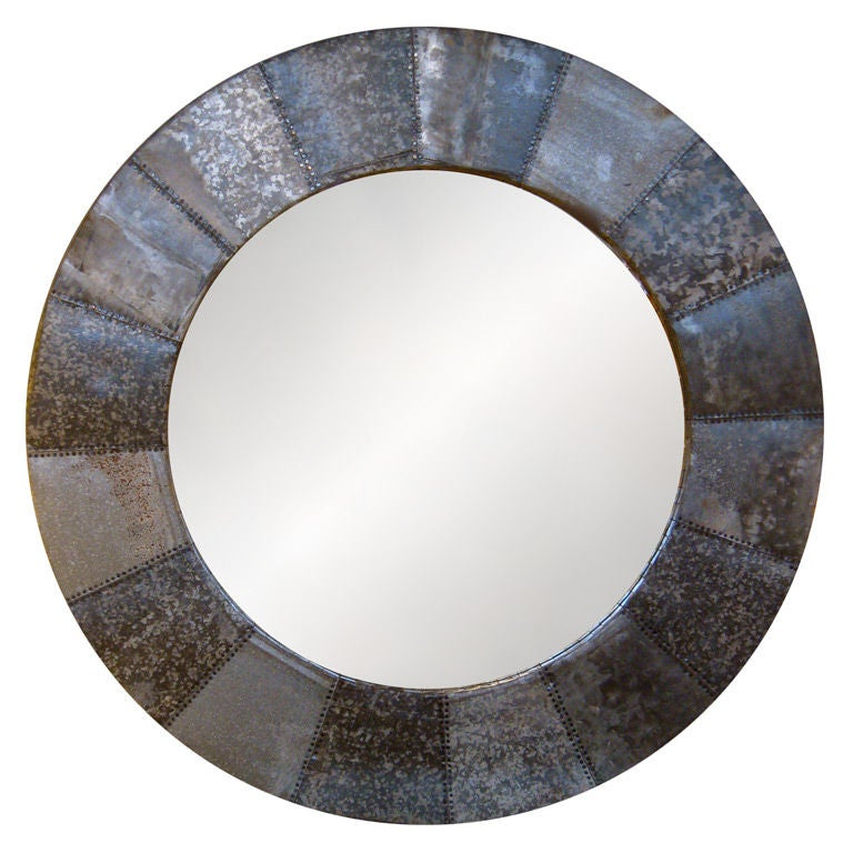 Large Round Zinc Framed Mirror At 1stdibs
