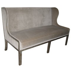 UPHOLSTERED LOVESEAT WITH SILVERED METAL FRAME