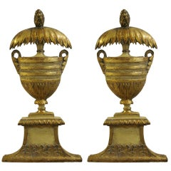 PAIR OF ITALIAN WOOD AND GILT WALL APPLIQUES