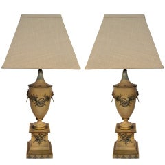 PAIR OF ITALIAN PAINTED TOLE LAMPS