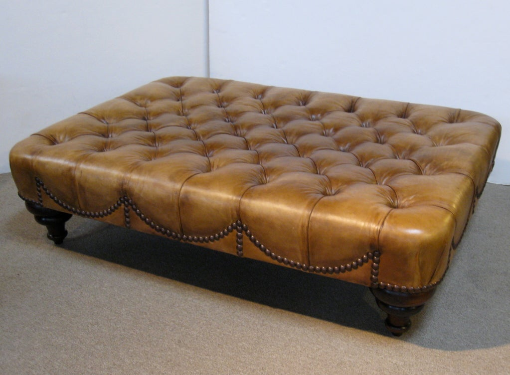 Large Leather Ottoman By George Smith At 1stdibs