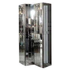 Ultra Chic Modernist Four Paneled Mirrored Screen