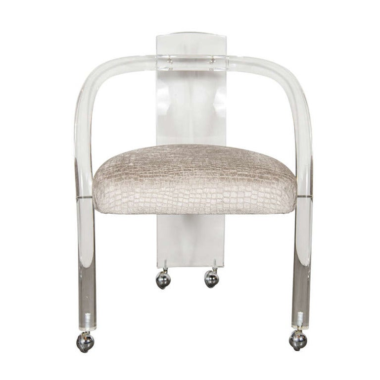 Ultra Chic Modernist Curved Lucite Desk or Vanity Chair at