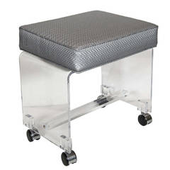 Mid-Century Modernist Waterfall Lucite Stool in Platinum Metallic Textured Woven