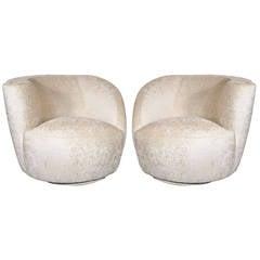 Sculptural Pair of Mid-Century Nautilus Swivel Chairs by Vladimir Kagan