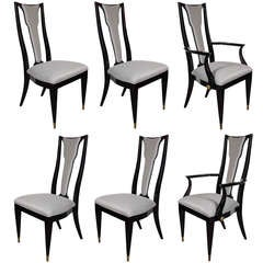 Set of Six Mid-Century Dining Chairs in Platinum Upholstery and Ebonized Walnut