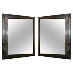 Ultra-Chic Pair of Mid-Century Modernist Silver Cerused Oak Mirrors