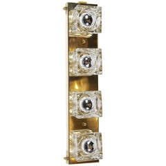 Mid-Century Modernist Glass Cube Sconce in Brass by Sciolari