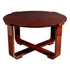 Art Deco Cocktail or Gueridon Table in Bookmatched Exotic Burled Walnut