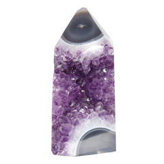 Beaming Amethyst Geode Obelisk with Lucite Base
