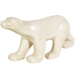 Art Deco Crackle Glaze Ceramic Polar Bear