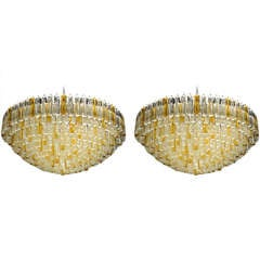 Pair of Spectcular Clear and Amber Murano Glass Tridre Prism Chandeliers