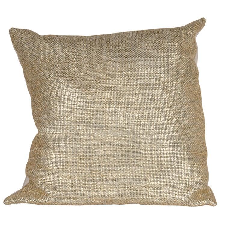 Custom Textured Woven Gold Metallic and Linen Pillows