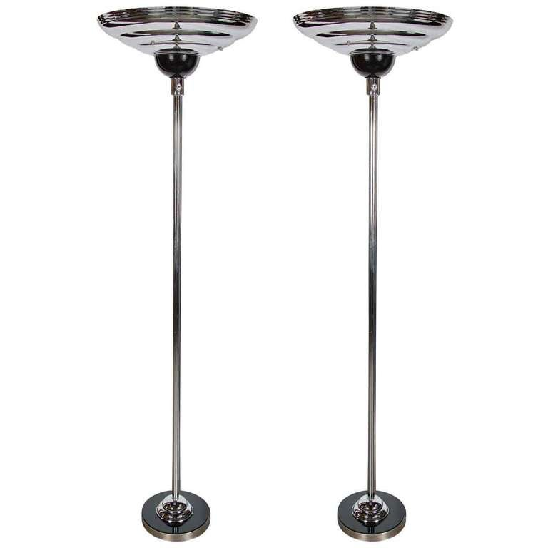 Pair of Machine Age Art Deco Torchieres in Polished Chrome